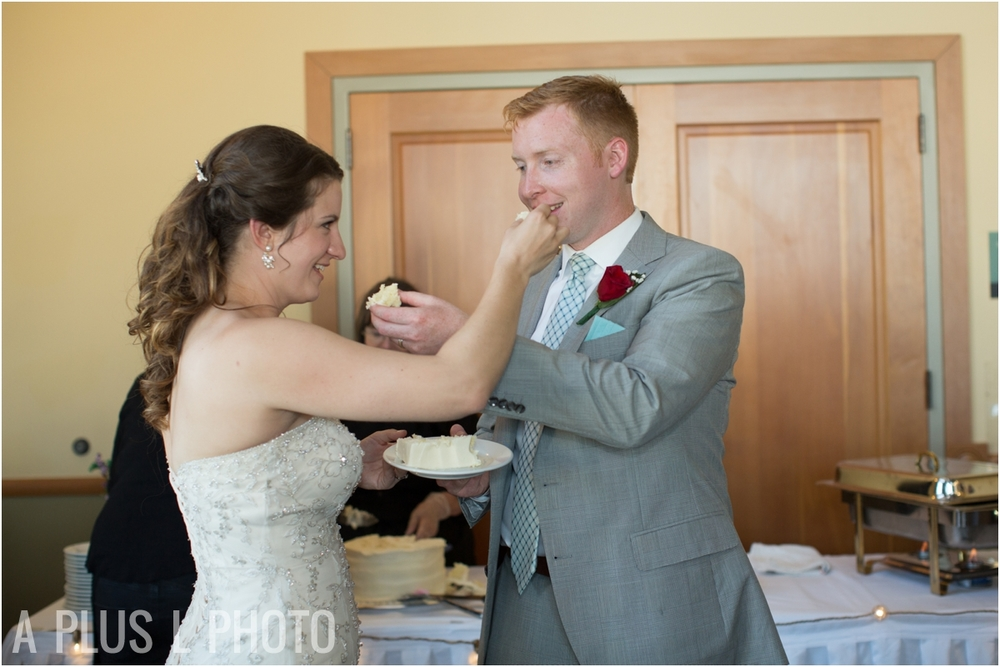Cake Cutting - Fort Worden Wedding - A Plus L Photo