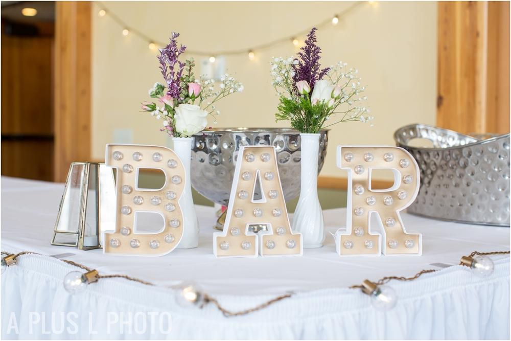 Wedding Bar Marquee Lights - Port Townsend Wedding - A Plus L Photo