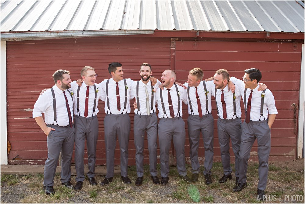 Rockabilly Wedding - Gray and Red Groomsmen - A Plus L Photo
