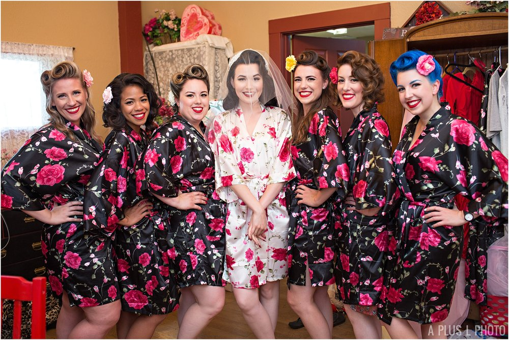 Rockabilly Wedding - Bridesmaid Robes - A Plus L Photo