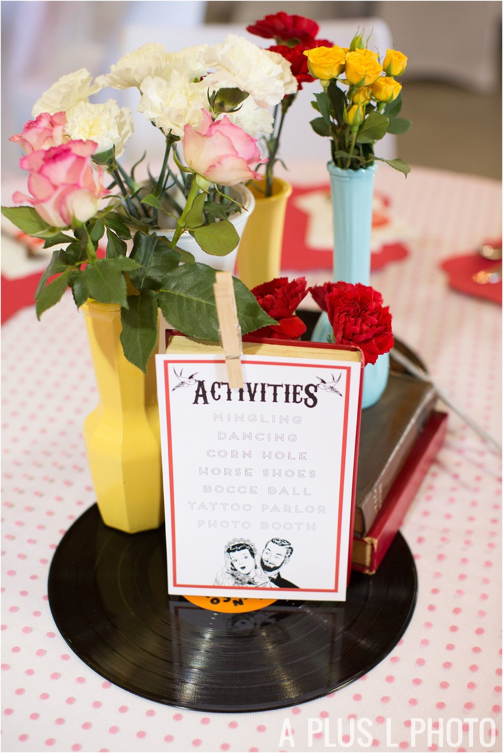 Rockabilly Wedding - Colorful Vintage Table Setting - A Plus L Photo
