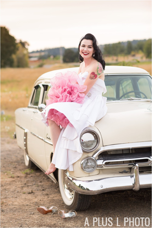 Colorful Rockabilly Wedding - Bridal Portrait on Vintage Car - A Plus L Photo