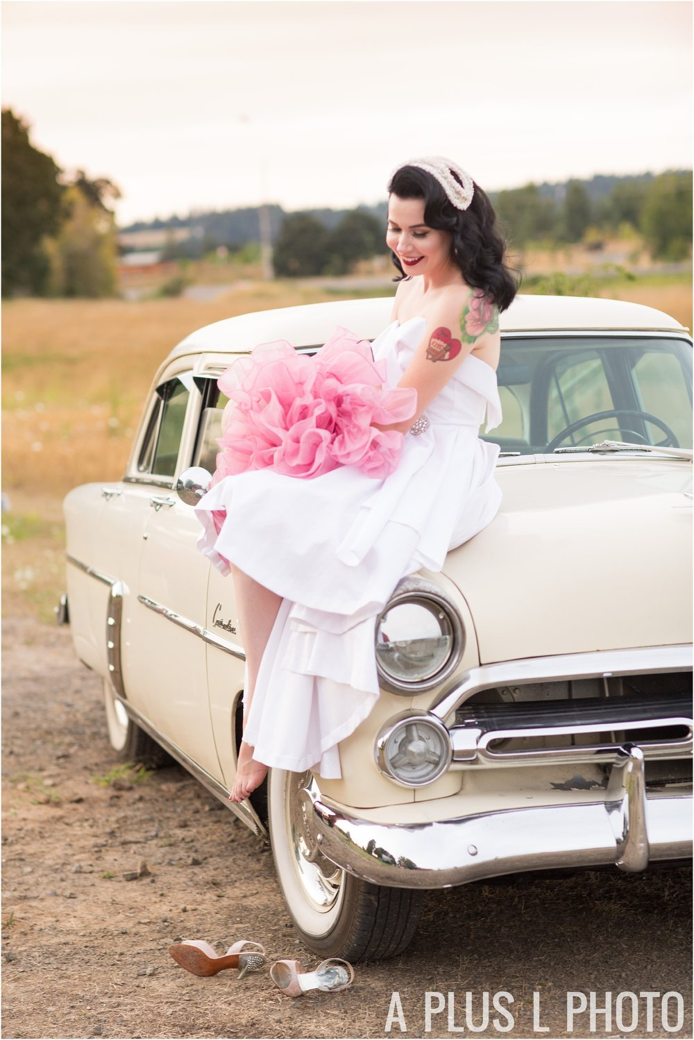Colorful Rockabilly Wedding - Pin Up Bride on Vintage Car - A Plus L Photo