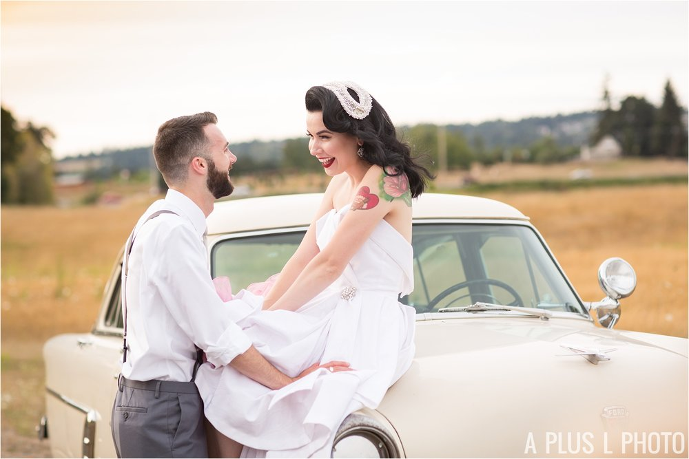 Colorful Rockabilly Wedding - Pin Up Bride and Groom on Vintage Car - A Plus L Photo
