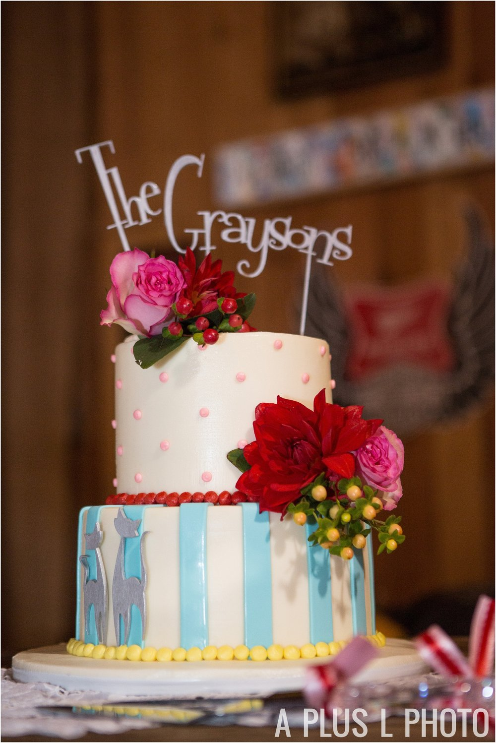 Colorful Rockabilly Wedding - Colorful Wedding Cake with Adorable Cake Topper - Heart of Rock - A Plus L Photo