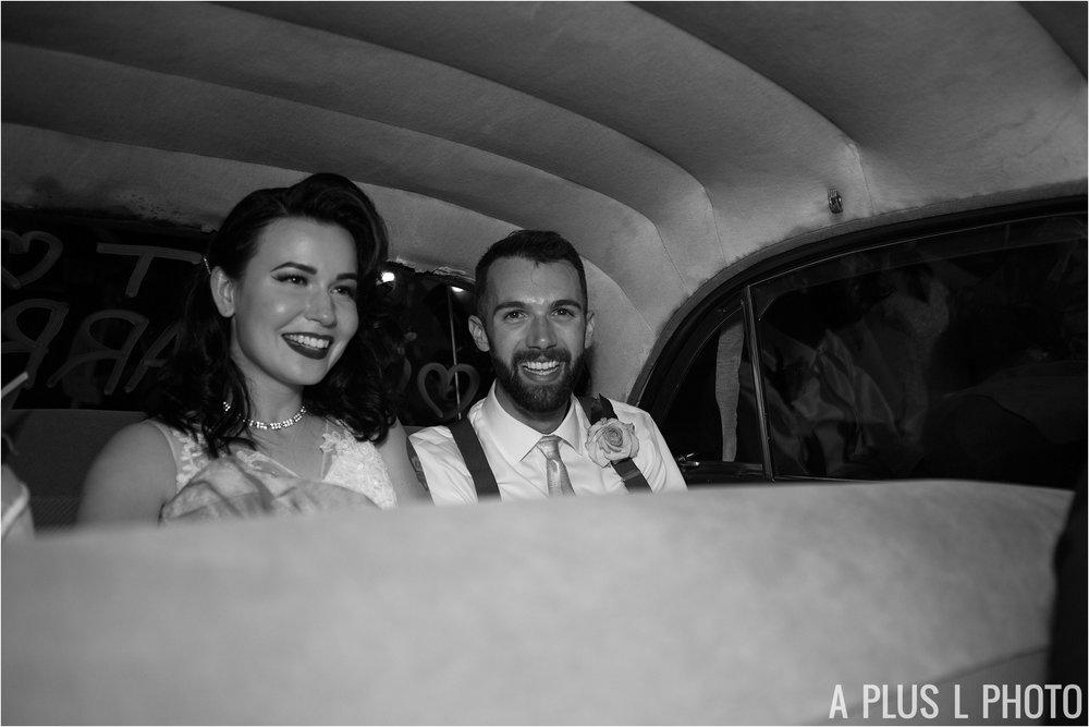 Colorful Rockabilly Wedding - Wedding Get Away Car - Heart of Rock - A Plus L Photo