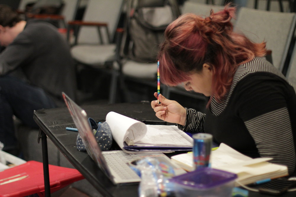 Our fearless stage manager, Anastar Alvarez, making sure we're word perfect in rehearsal.