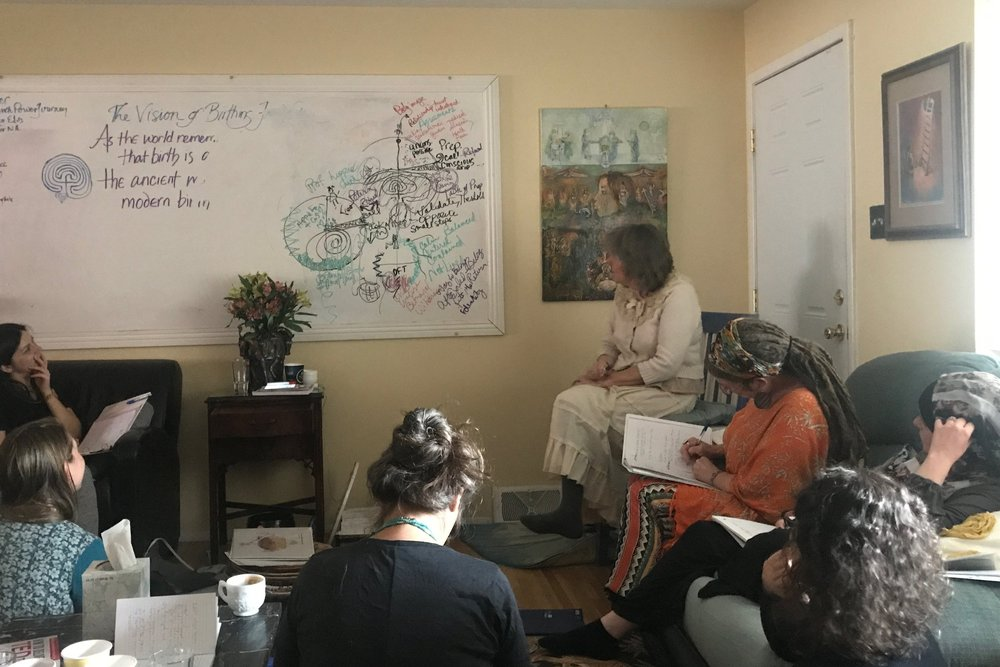 Birthing From Within founder Pam England teaching the hero's journey map for the childbearing experience.
