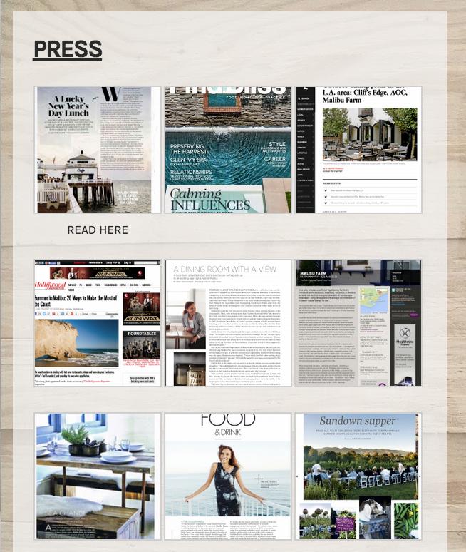Malibu Farm Press Page