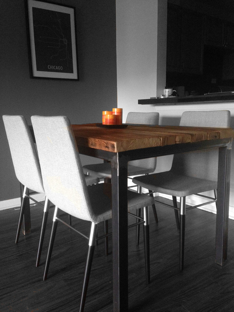 Reclaimed wood and steel dining room table by wageoflabor