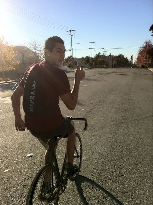 """Nothing like a great day to ride the fixies with the homie Gonzo down the busy street of Bonita Ave. I've been thinking and we need some more days like these. Like Pac Div says, """"just another day out in sunny LA."""" Stay Up. -JerryAllNight"""