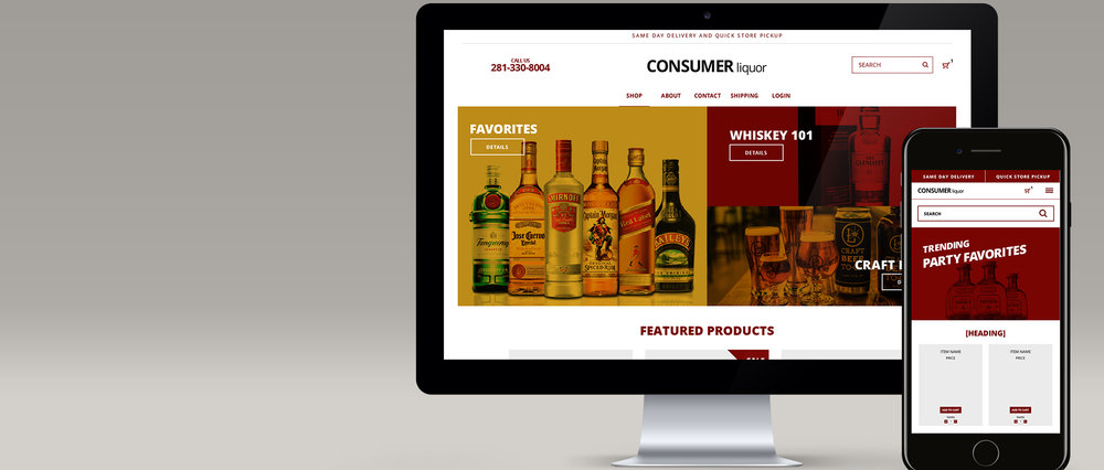 Consumers Liquor store - web design + print design + product photography
