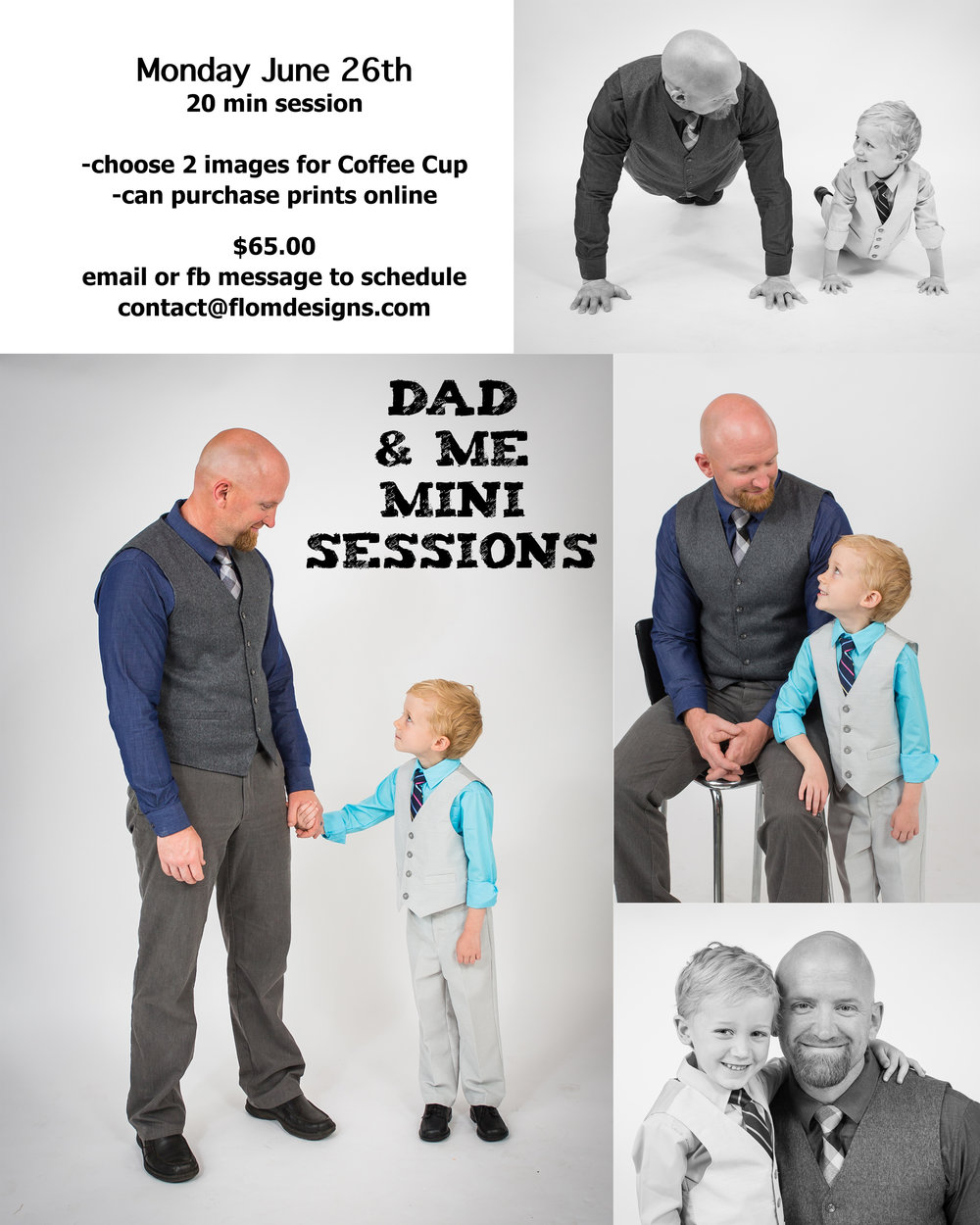 20 minute session - pick two images for Coffee Cup - Photos can be purchased online   Monday June 26th   $65.00 - Email: Contact@flomdesigns to schedule your session!  Can't wait to capture you!