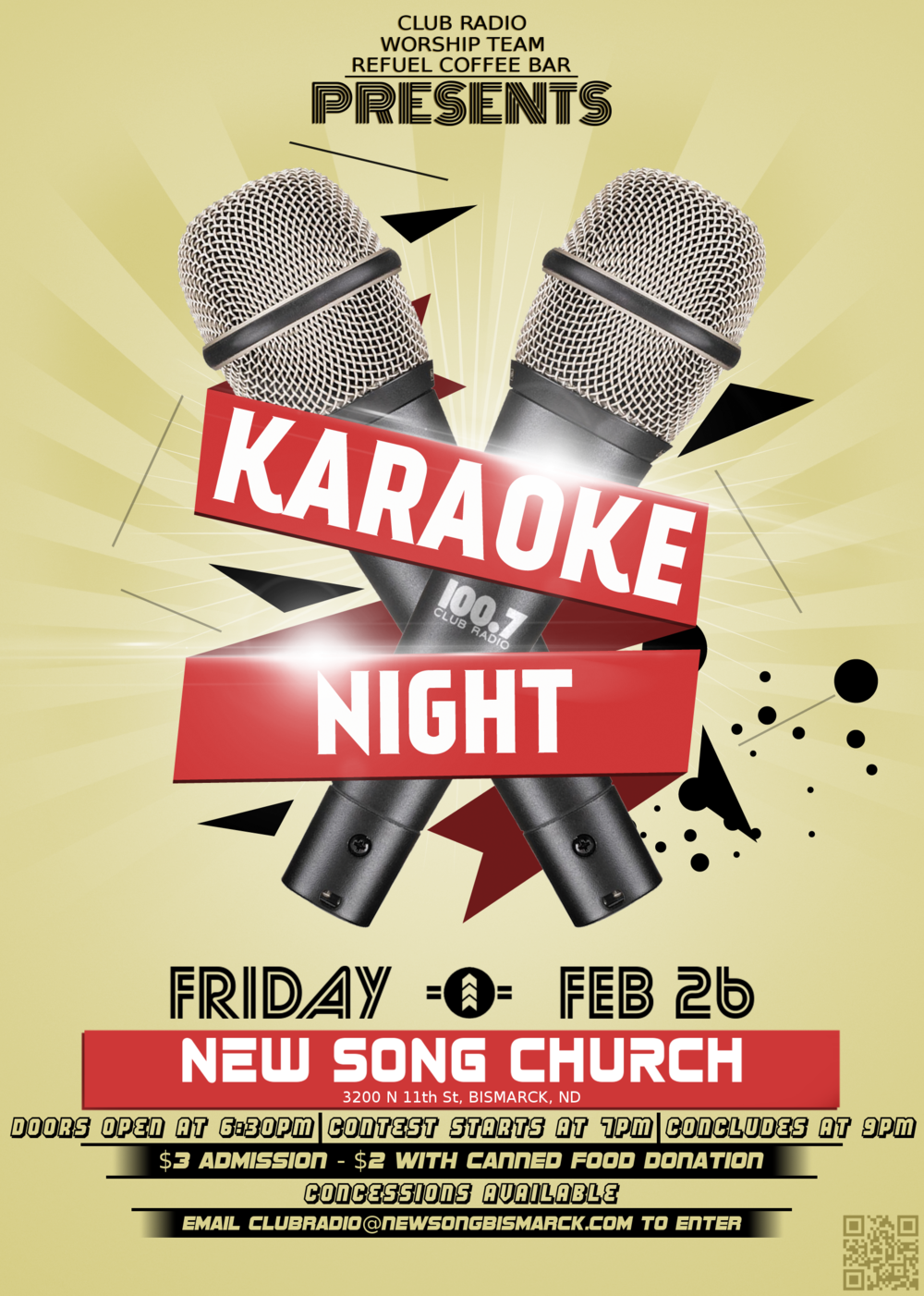 Have you always wanted to sing but haven't had the chance? We have the perfect opportunity for you! We're excited to announce our upcoming Karaoke Night on Friday, February 26! We're looking for individuals or groups to showcase their talents in front of a panel of judges for the chance to win great prizes! The contest is open to individuals or groups of 4 or less.  There will be a $3 cover charge to attend the event, or $2 with a canned food donation (performers are free). Refreshments will be sold throughout the night, with all proceeds going towards supporting Club Radio, Refuel Coffee Bar, and New Song's Worship Team.  Doors open at 6:30, with the first singer taking the stage at 7:00. Winners will be announced by 9:00.  If you're interested in performing, send in your top 3 song choices to clubradio@newsongbismarck.com or sign up at the Access Booth. We're only opening it up to the first 15 entries - spots will go fast, so make sure to enter now!