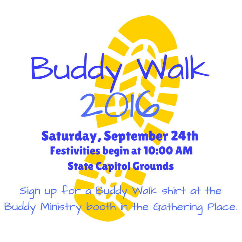 WHAT:   The Buddy Walk was developed by the National Down Syndrome Society (NDSS) in 1995 to promote acceptance and inclusion of all people with Down syndrome. This year the Designer Genes Buddy Walk was one of at least 350 Buddy Walk events scheduled from mid-September through November, with more than 250,000 people expected to participate.   WHEN:   Saturday, September 24, 2016. Registration and entertainment begins at 10:00 am, with the walk beginning at 11 am.   WHERE:   State Capitol Grounds, Bismarck – Registration will be set up at the Capitol Steps and the walk will be conducted around the Capitol loop. (600 E Boulevard Avenue)   WHO:   About 2,000 people are expected to attend. Participants include people with Down syndrome from around the state, their families, friends, teachers, coworkers and other supporters.  New Song's Buddy Ministry is proud to be a part of this event!
