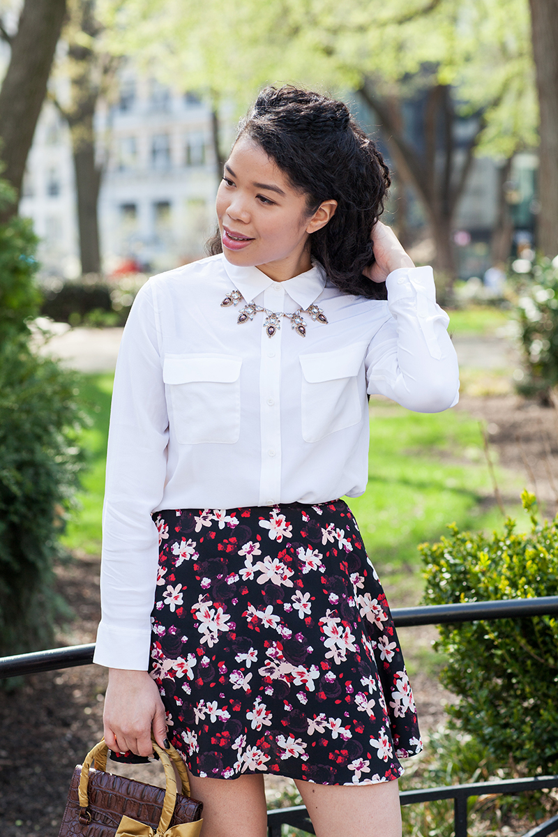floral skirt white equipment shirt outfit