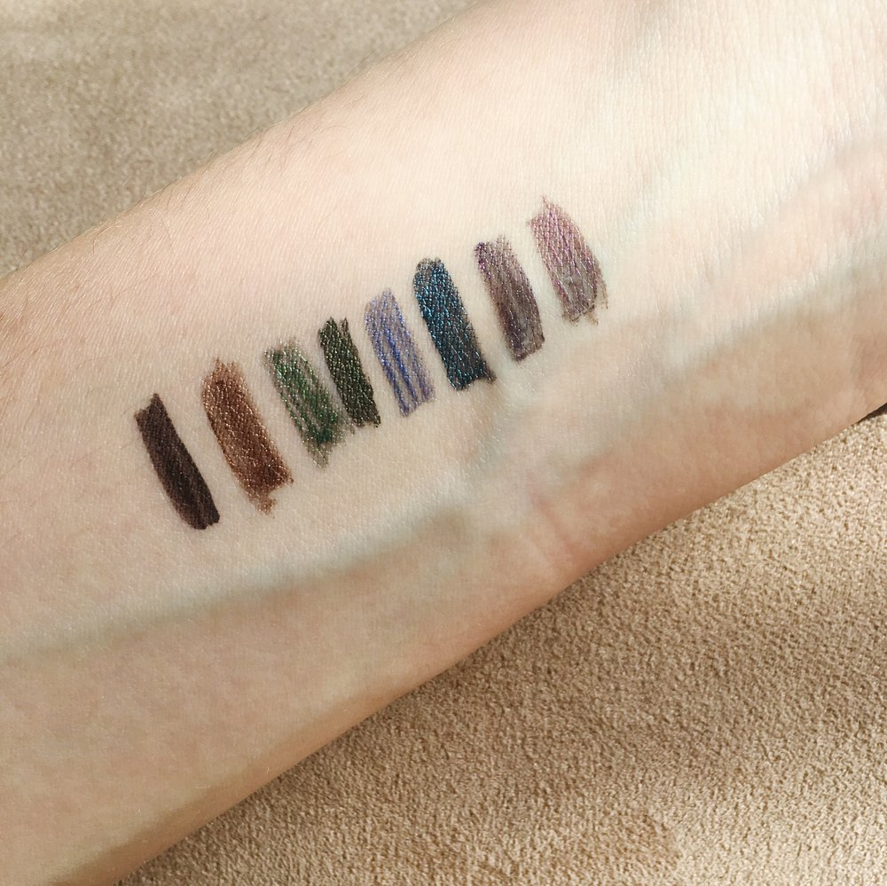 Lancômes Artliners from left to right: chocolat, cuir, menthe, jade, saphir, azur, violet, amethyste