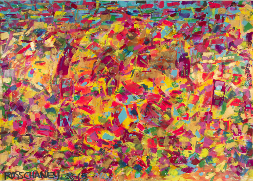 ACRYLIC ON LINEN - 2015 - SANTA FE LIGHT - 7.5FT X 6FT - © ROSS CHANEY - ALL RIGHTS RESERVED