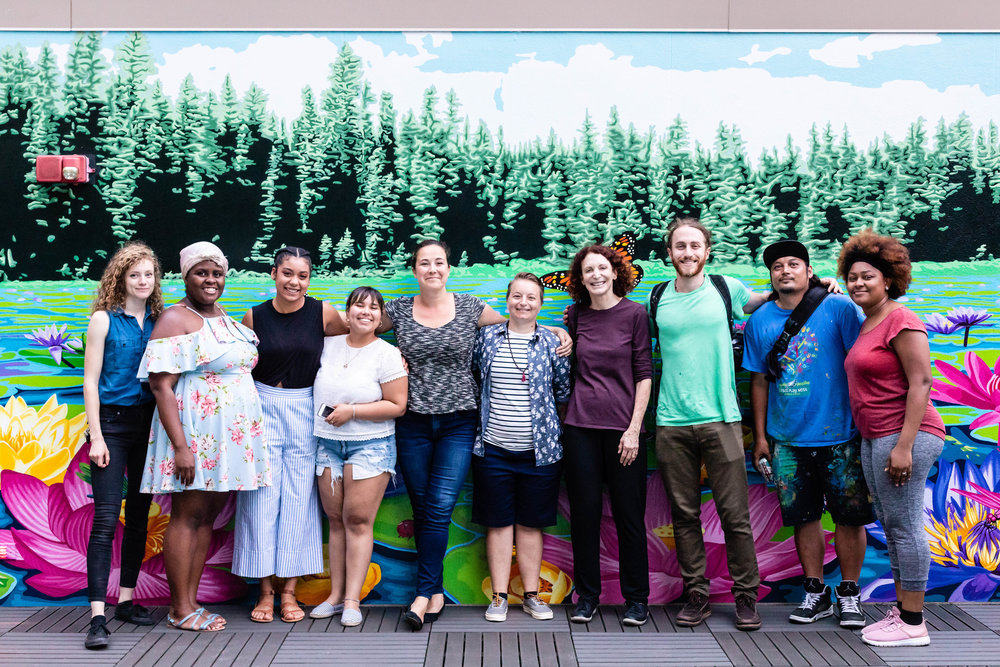 (L to R) Emily White, Monica Mathieu, Jada Gibson, Noelia Rodriguez, Director of Art Education Lisa Murch, Artist Melissa Mandel, Mural Arts Executive Director Jane Golden, Daniel Lipschutz, J.C. Zerbe, and Jamee Grigsby