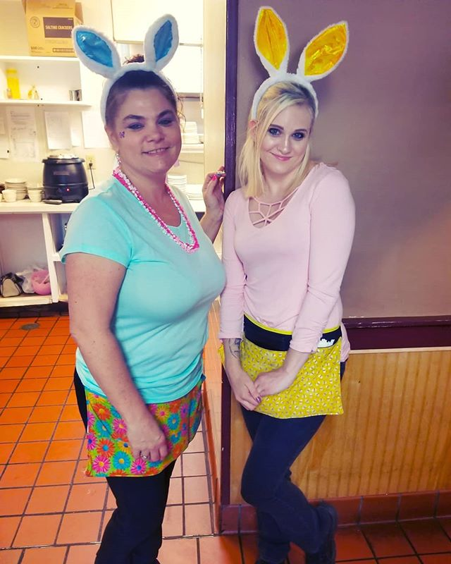 Throw 🔙 to when we had little bunnies hopping around on Easter! Everyone was very cheerful and we had a sucessful busy day. The girl on the right helped serve a party of 50 that day, and the girl on the left helped serve a party of 20 AND she took tables. Did I mention BOTH parties came in at 8am? These girls and the rest of the staff were rockstars that day ⭐  Side note: Our specials for today include Turkey & Dressin' and Rustic Meatloaf. Each come with sides and fresh corn bread. Come on in before we sell out!