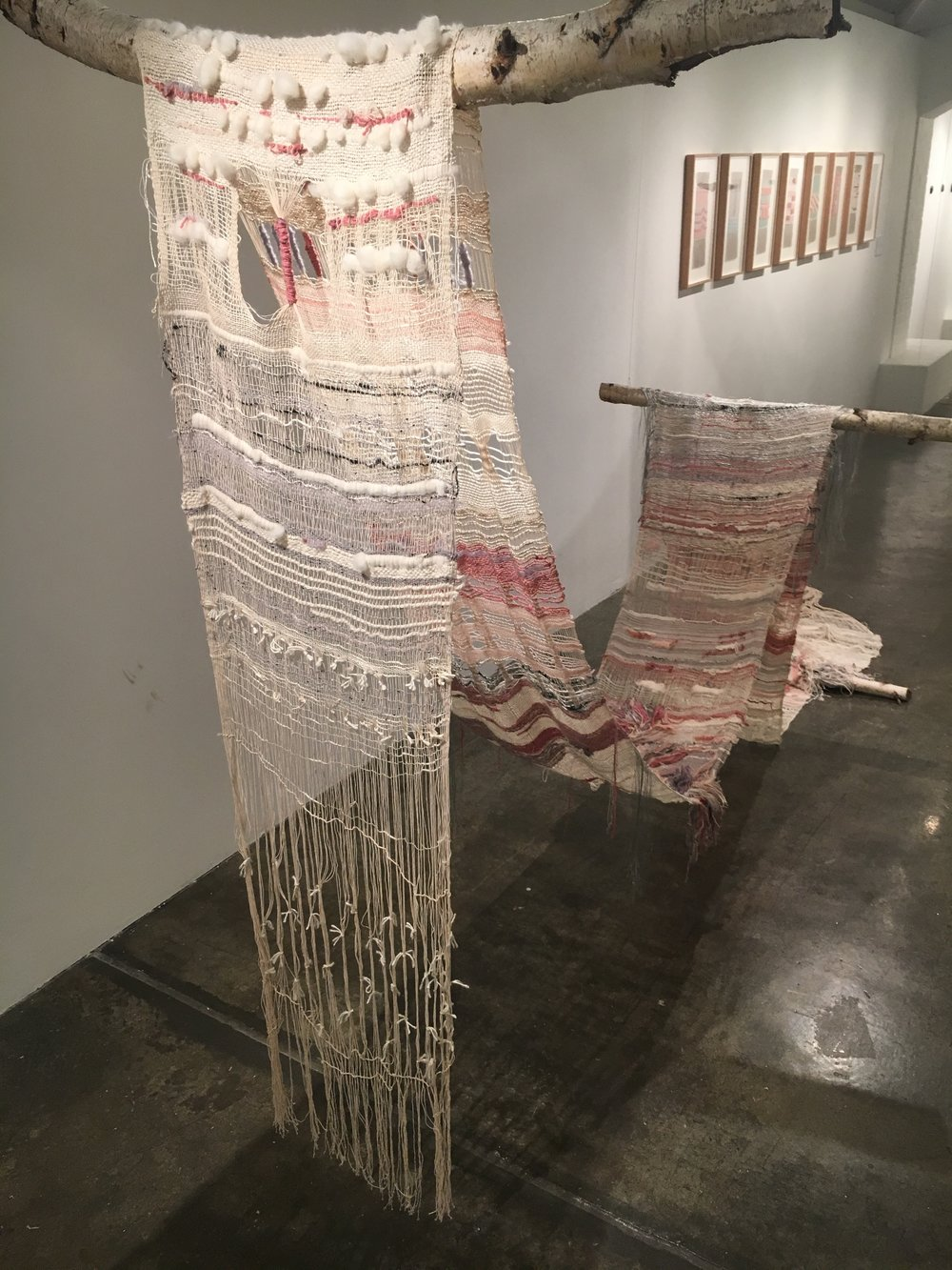 Undercurrent, 2016, Morgana Robb (Cotton, silk, wool, metallic thread, hand woven. 10 m x 50 cm)
