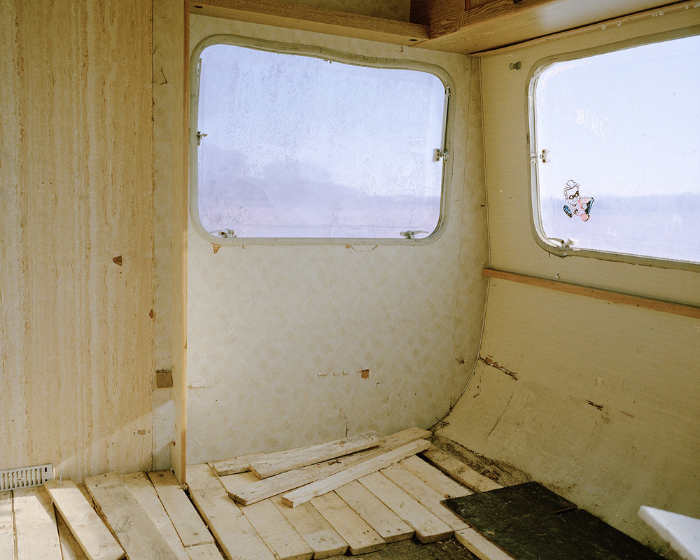 An empty caravan at the occupation site.