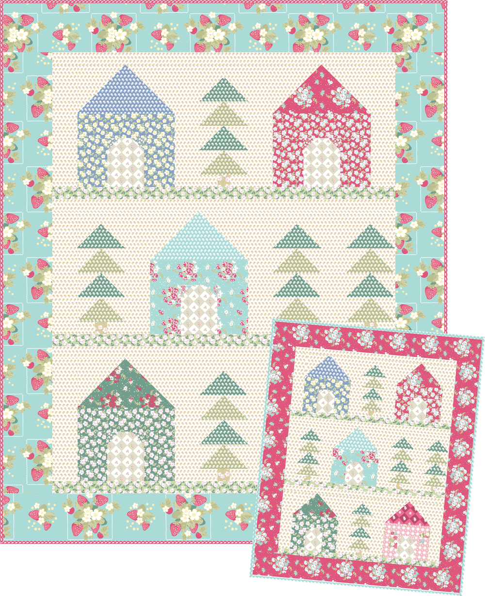 Cozy Cabins Quilt and Mini Quilt by Jera Brandvig for Lecien Fabrics