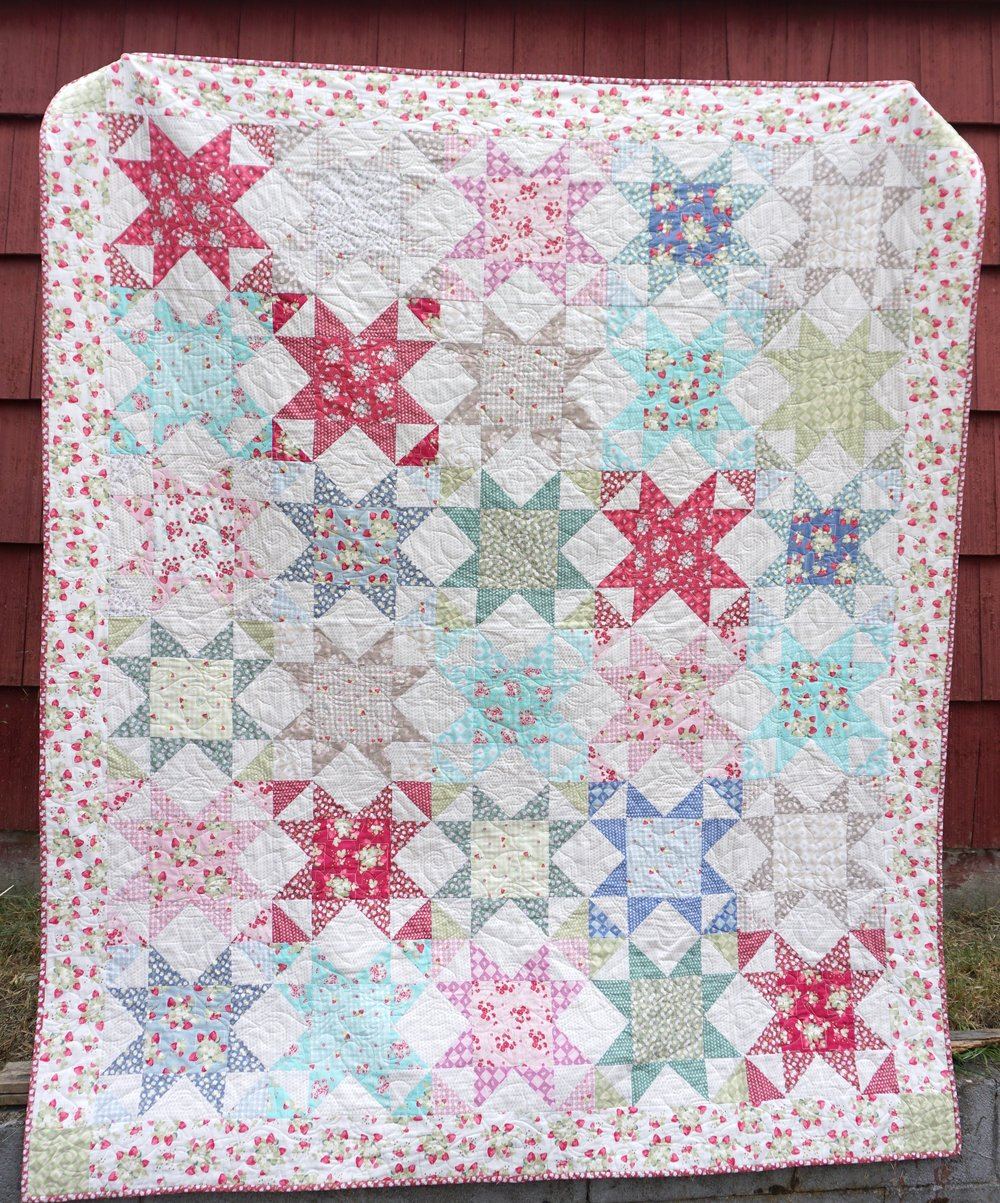 La Conner Stars Quilt by Jera Brandvig of Quilting in The Rain for Lecien Fabrics