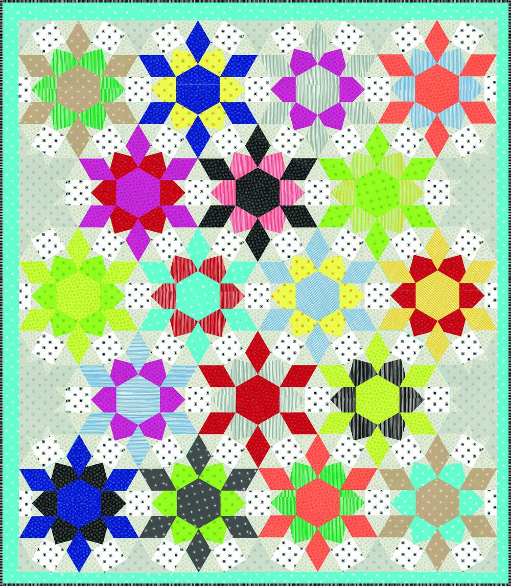 LECIEN Fiesta Time Flowers Quilt by Emily Breclaw