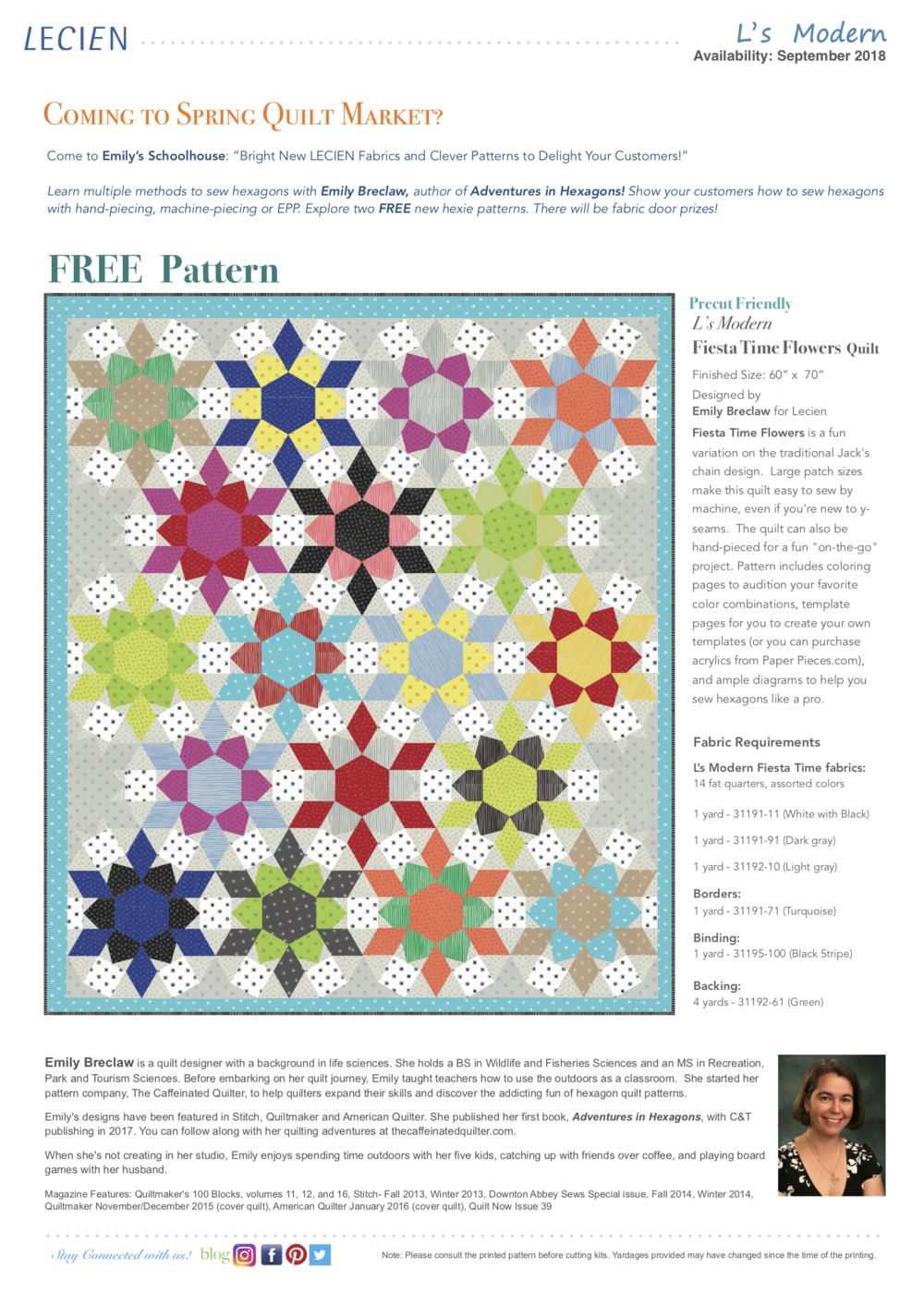 Lecien Fiesta Time Flowers Quilt Pattern