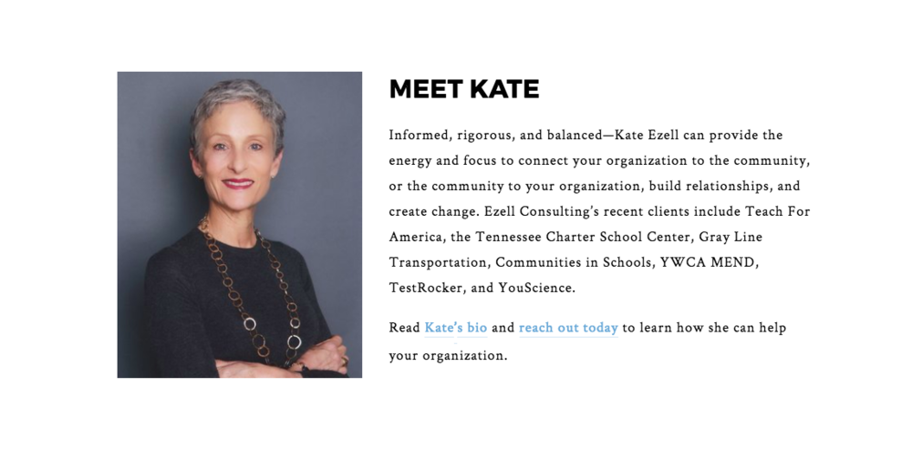 Kate Ezell, CEO of Ezell Consulting. Learn more about how I helped this Nashville business owner develop her website using  Squarespace .