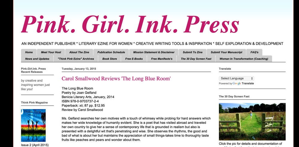 Read the review by Carol Smallwood for The Long Blue Room here.