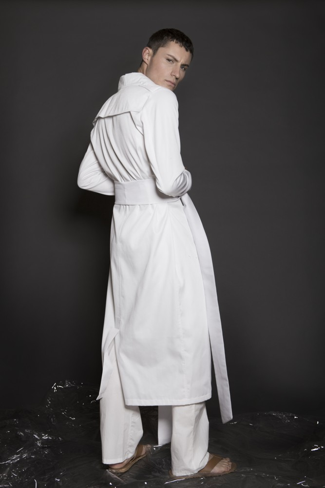 Aimmea - Malcolm Henderson Ice model white trench coat backside.jpg