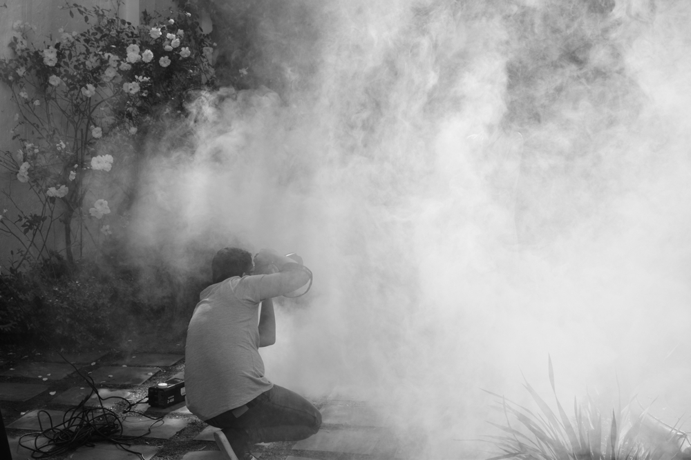 Smoke!! - Daniel working his magic in the garden