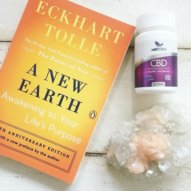 ✨BED☽✨☾T I M E essentials . Started a spiritual book club with my residents at work and this is the book we are reading. Paired it with a side of @medterracbd CBD + melatonin supplement to help with sleep {use discount code FITBRITT on your own order} .  How do you unwind after a long day?☽✨☾Y O U always have a choice on how you begin and end your day. Don't neglect your needs✨ #fitbrittnutrition