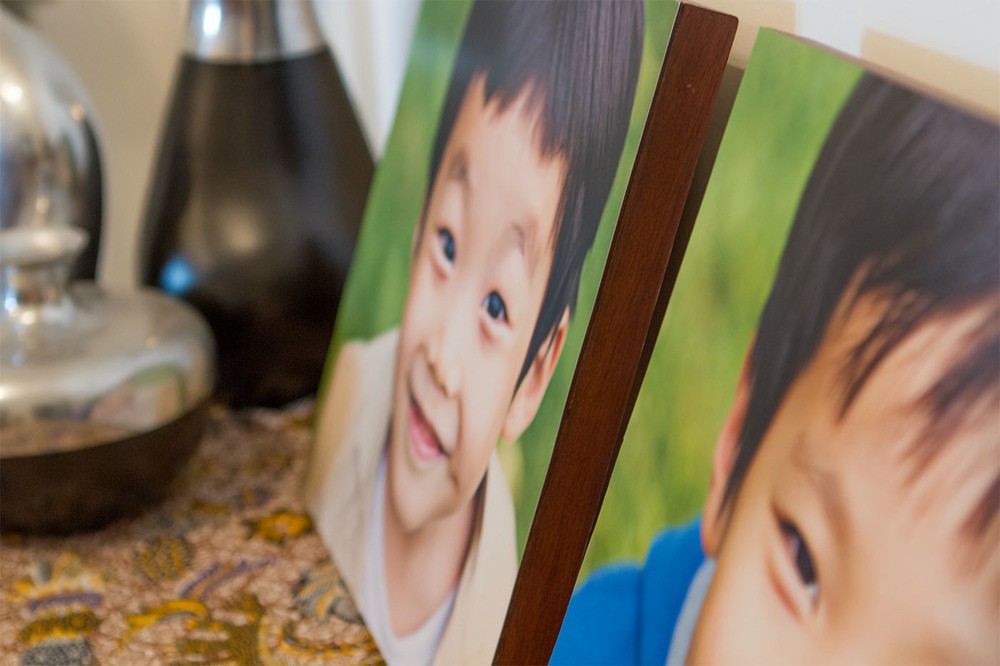 Made in Myanmar.  Handcrafted by local artisan.  Laminated Kodak professional print mounted on Teak wood.