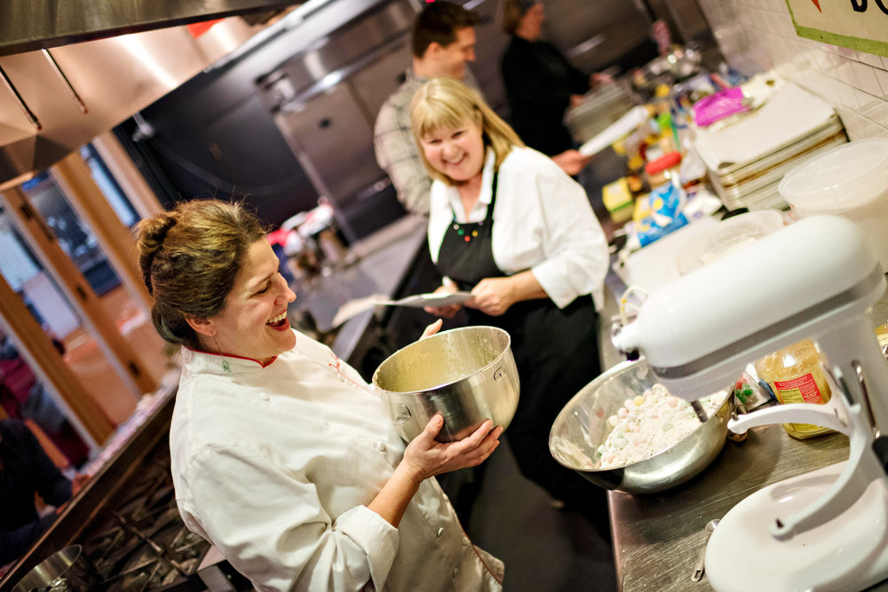 Guest Pam and Chef Traci making Gum Drop Cakes from a 100-year-old recipe! Candy & Confection Class at Pike Place Market Atrium Kitchen, December 17, 2016