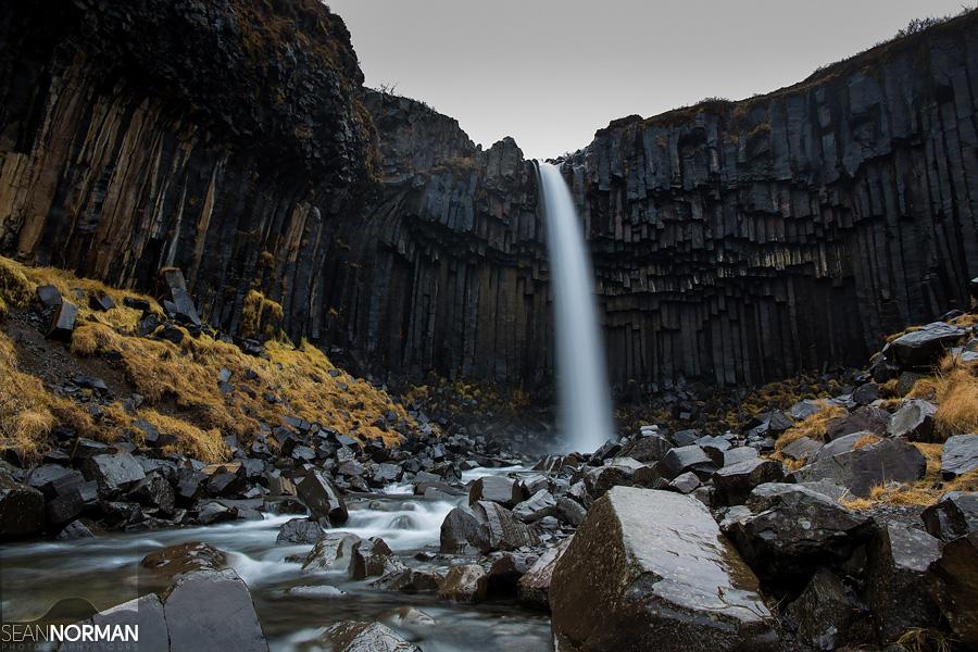 basalt column waterfall iceland svartifoss