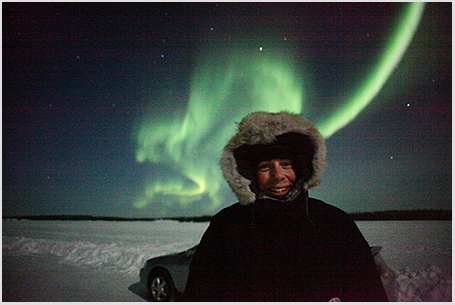 A self portrait shot in moonlight on my first night in Yellowknife some 1,125 nights ago, not that we're counting.