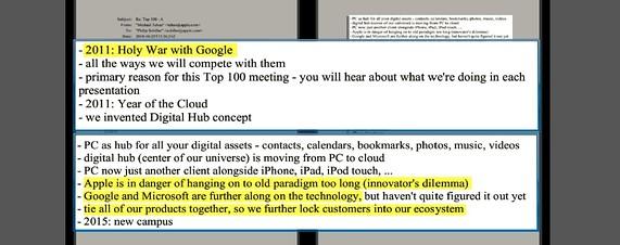 스티브 잡스는 2010년경 구글과 성전 (Holy War)을 치러야 한다는 이메일을 썼고, 그의 자서전에서는 안드로이드에게 복수하겠다는 이 야기를 했다고 알려져있다. 먼저 출시된 아이폰으로서는 이러한 오픈 소스 전략이 상당한 골칫거리였음이 분명하다. (출처 : 월스트리트 저널 블로그)