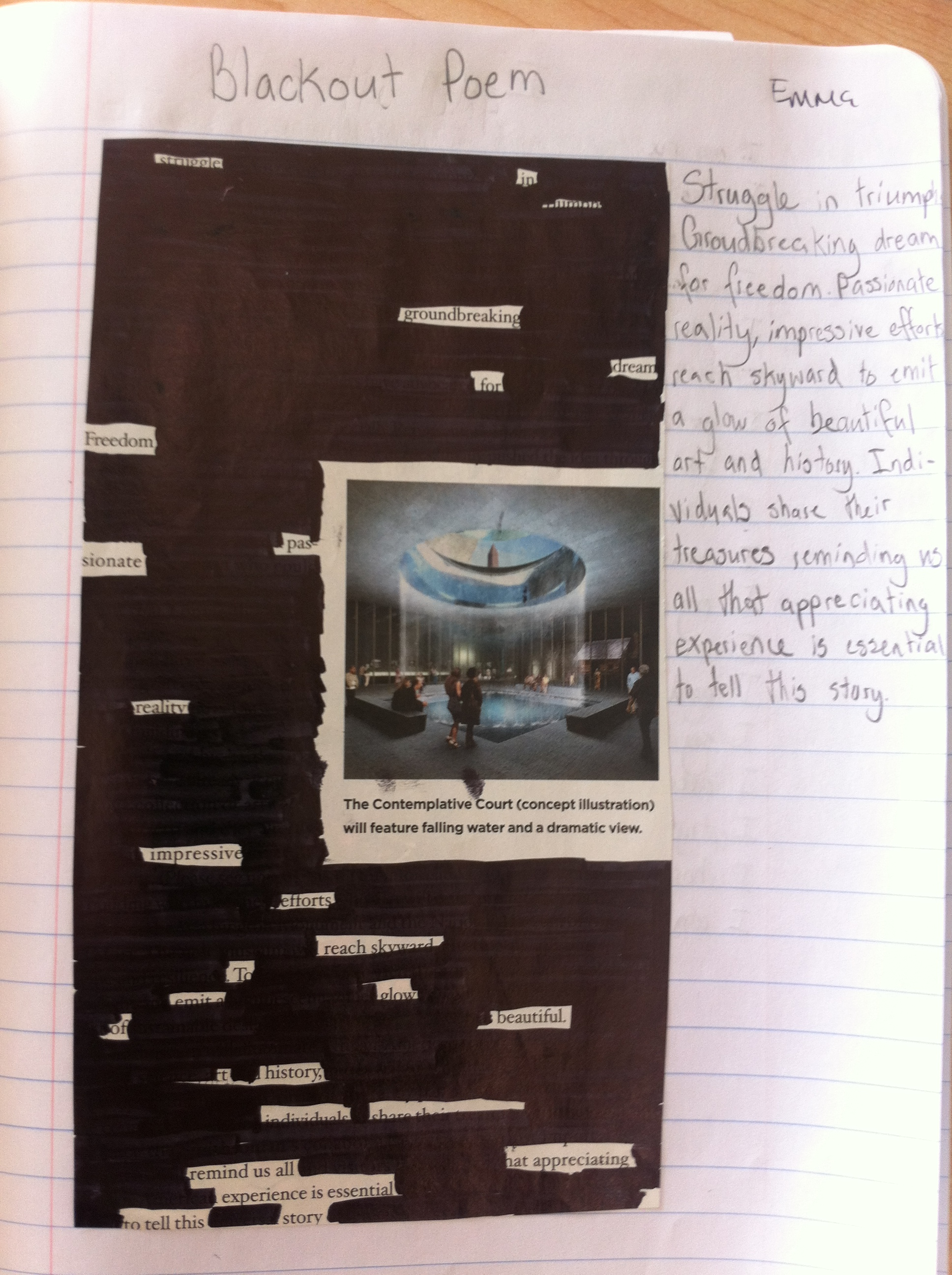 Blackout Poem by Emma