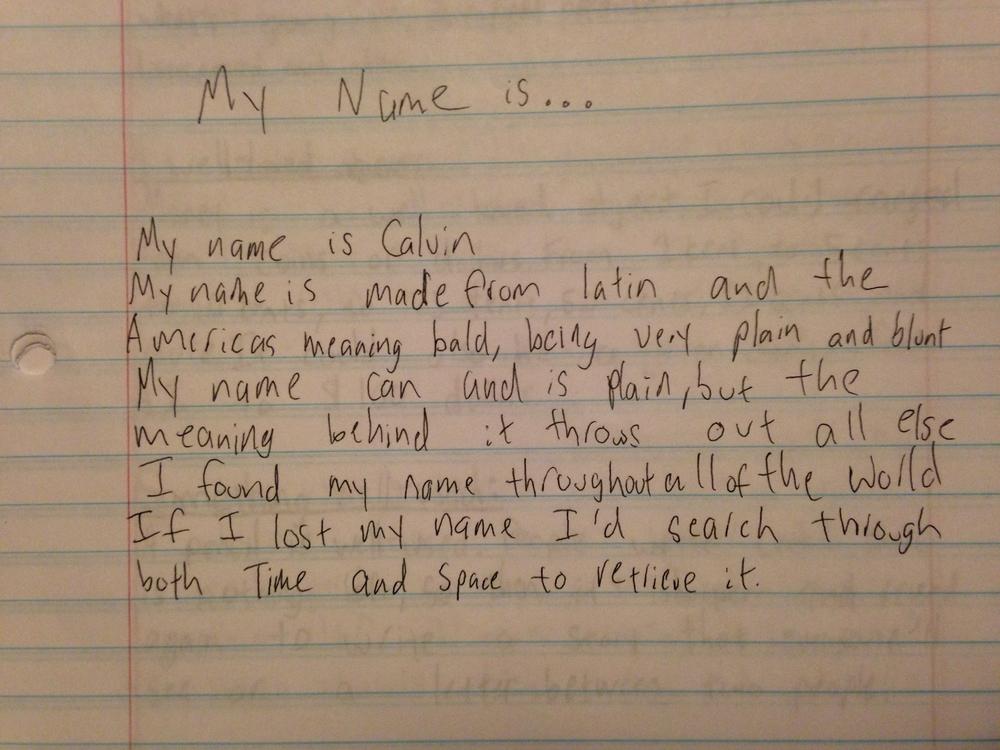 My name is... poem by Calvin