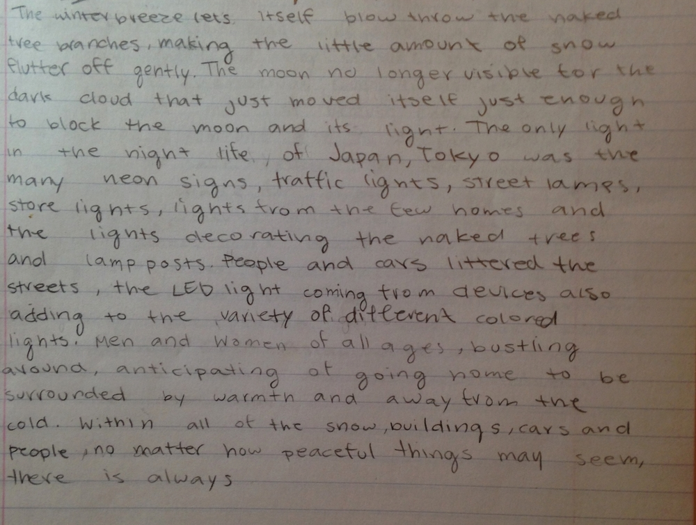 """Yvonne's piece from a """"free write"""" period - students choose to write in whatever format moves them in the moment"""