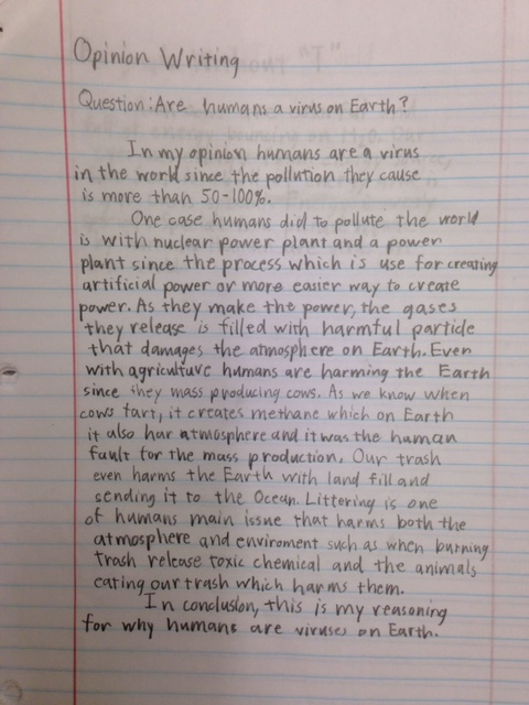 """Opinion Writing: """"Are humans a virus on Earth?"""" by Steven"""