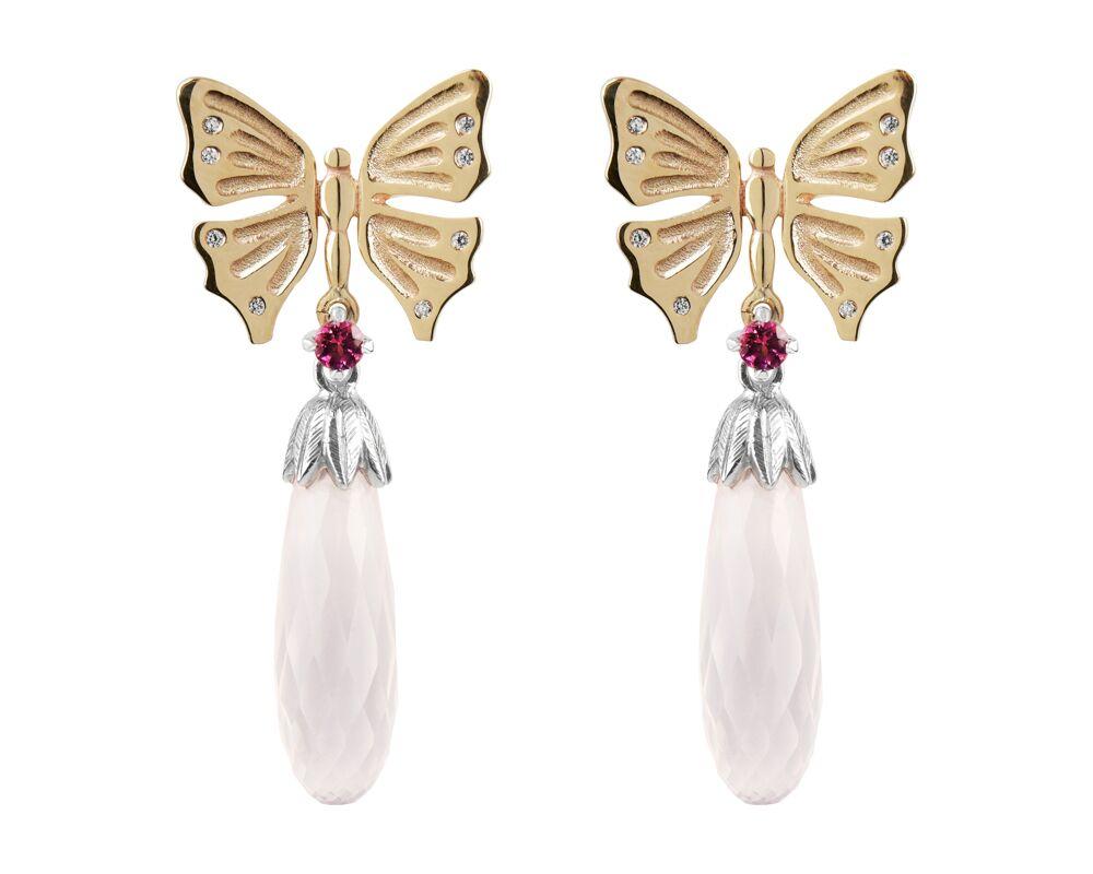 Yellow Gold, Diamond, Pink Garnet Rose Quartz £1150