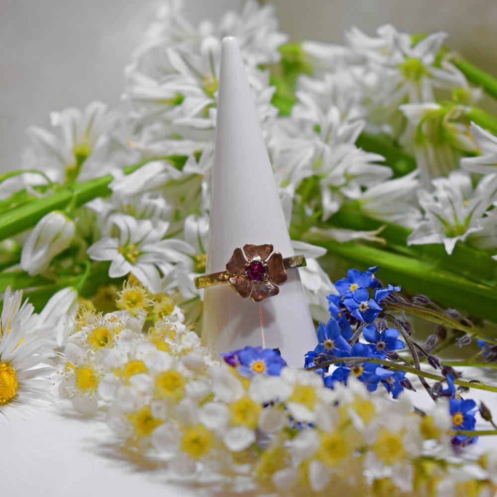 rhodolite flower ring