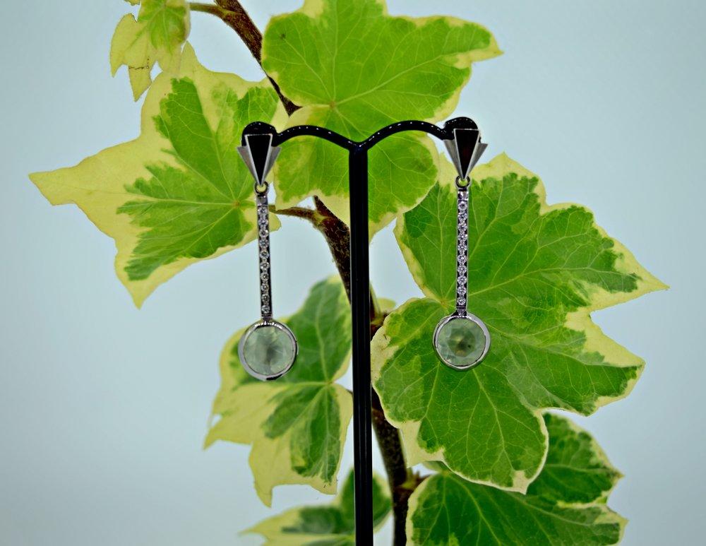 Prehnite drop earrings with diamonds