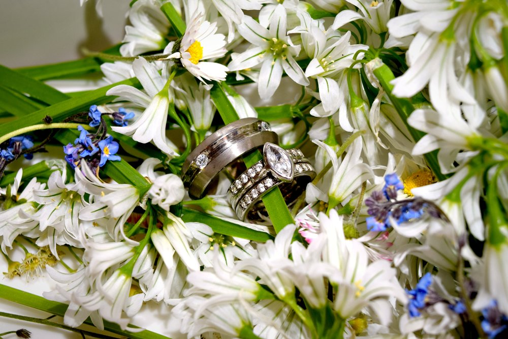 Wedding bands in flowers