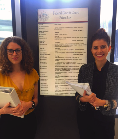 AMANDA RICHMAN (ALI) and Jordan sosnowski (AFD) at the Federal circuit court to initiate proceedings against Dolphin marine magic