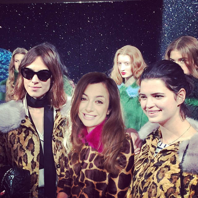 Alexa Chung, The Italian Wife (with the De 'Hart Giraffe Coat) and Pixie Geldof at the Shrimps aw15 Show at London Fashion Week